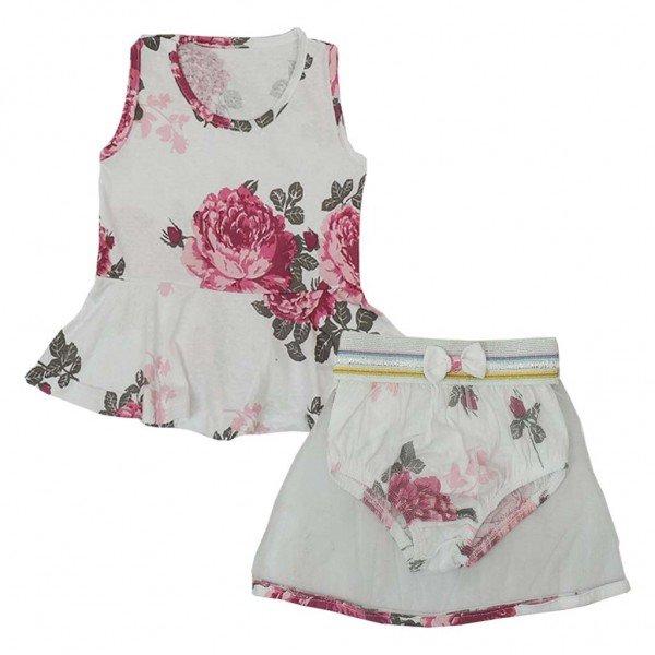 conjunto blusa saia e calcinha