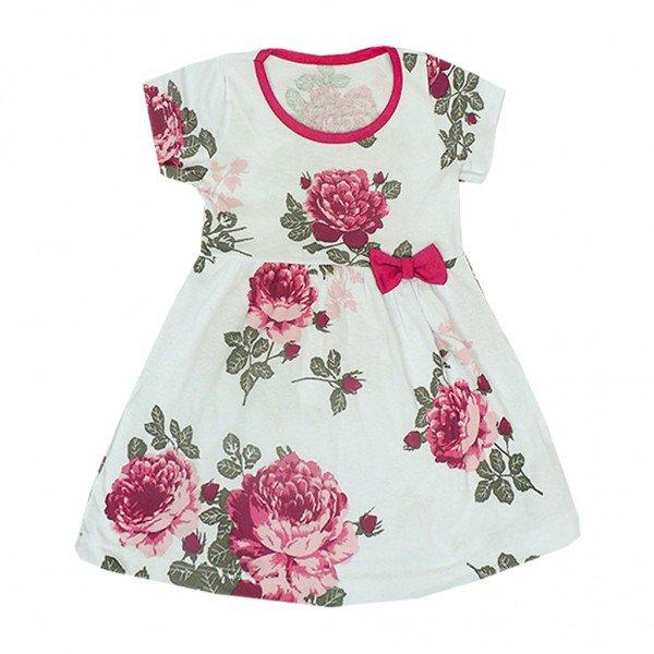 vestido floral com laco