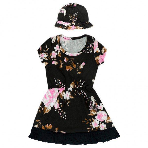 conjunto vestido toca floral
