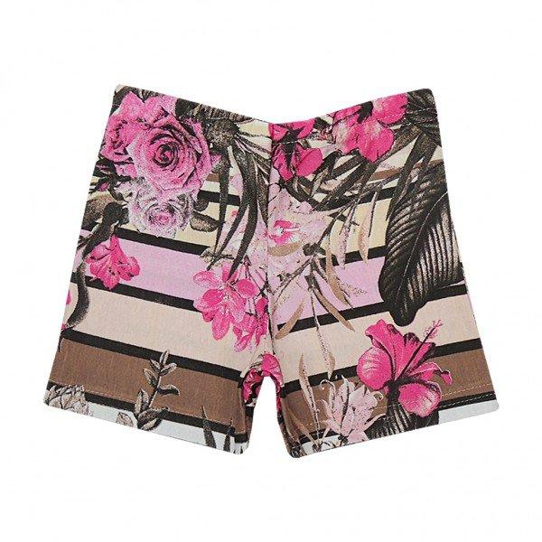 shorts listrado floral rosa