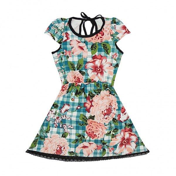 vestido xadrez florido