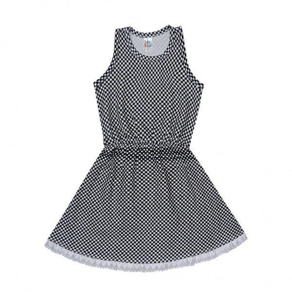 vestido xadrez renda branca