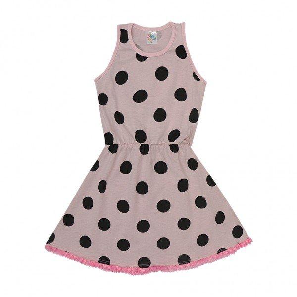 vestido rosa poa renda rosa