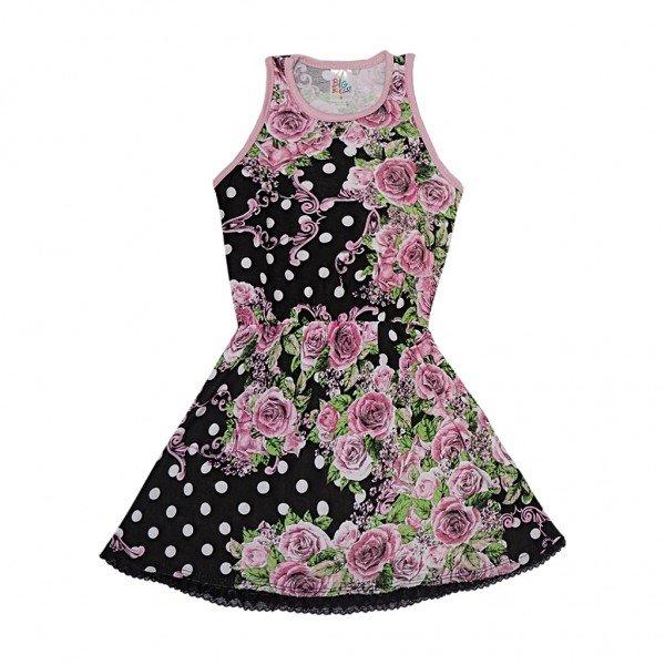 vestido preto poa floral renda preta