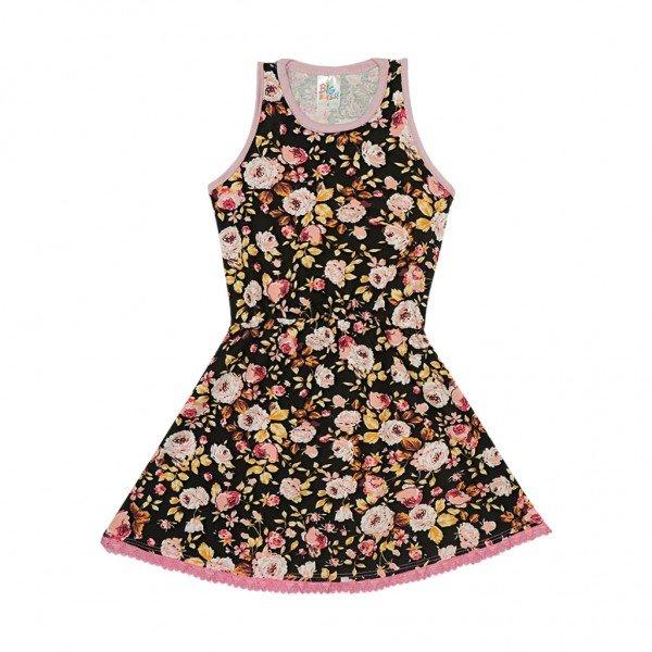 vestido preto floral renda rosa