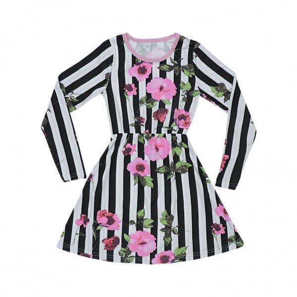 vestido manga longa listra floral