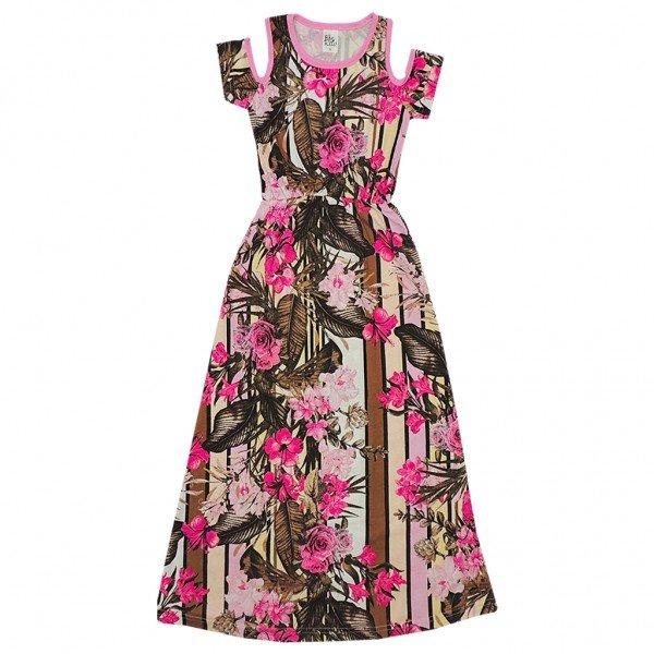 vestido longo rosa florido