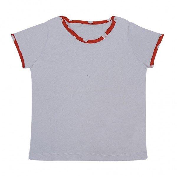 blusa branca friso poa vermelho
