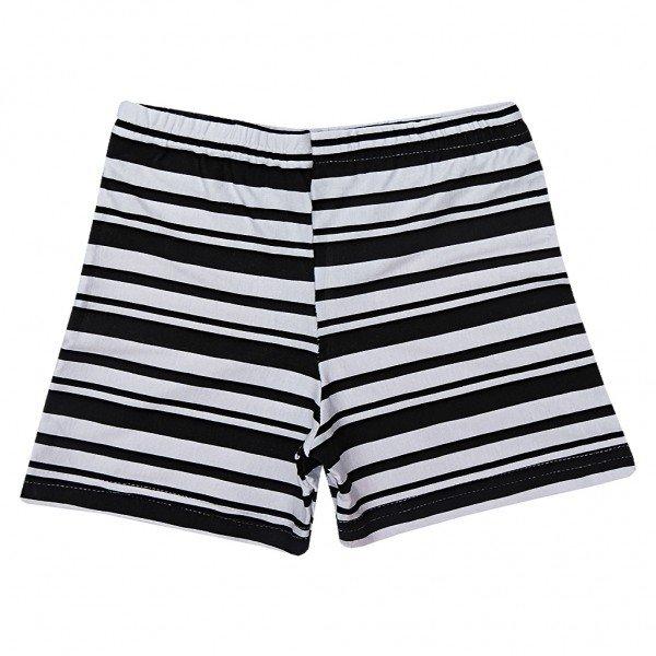 shorts branco listra variadas pretas
