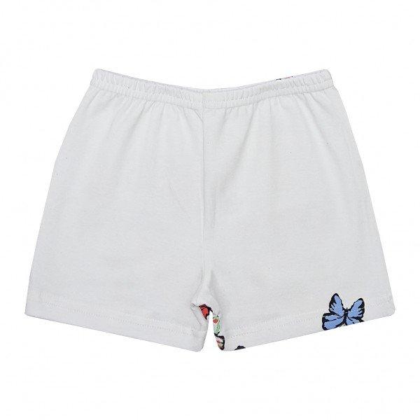 shorts branco borboletas